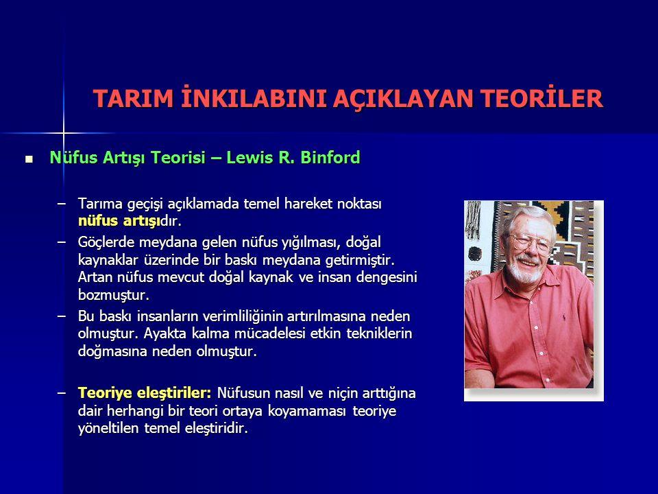Nüfus Artışı Teorisi – Lewis R. Binford Nüfus Artışı Teorisi – Lewis R. Binford –Tarıma geçişi açıklamada temel hareket noktası nüfus artışıdır. –Göçl