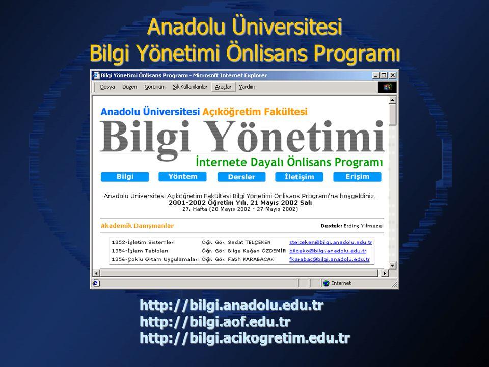 http://bilgi.anadolu.edu.trhttp://bilgi.aof.edu.trhttp://bilgi.acikogretim.edu.tr Anadolu Üniversitesi Bilgi Yönetimi Önlisans Programı