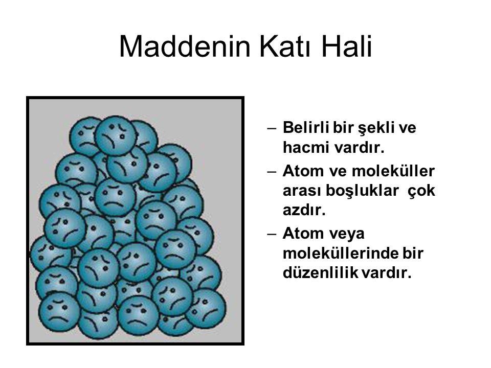 Maddenin Katı Hali –Belirli bir şekli ve hacmi vardır. –Atom ve moleküller arası boşluklar çok azdır. –Atom veya moleküllerinde bir düzenlilik vardır.