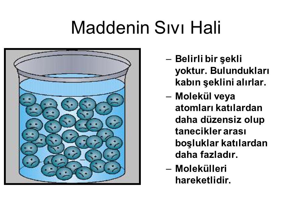 Maddenin Gaz Hali Atom veya molekülleri arasında boşluklar çok fazladır.