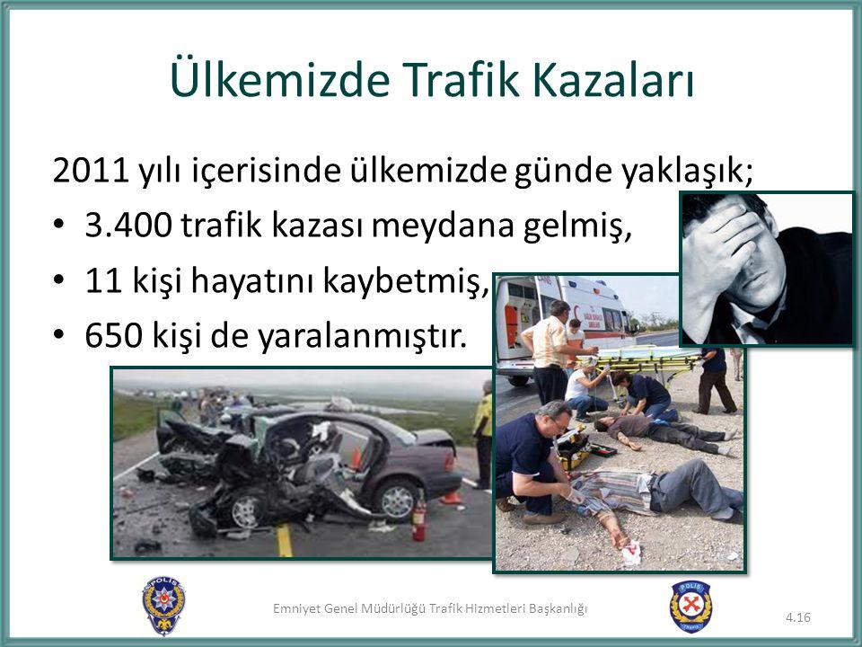 Emniyet Genel Müdürlüğü Trafik Hizmetleri Başkanlığı Ülkemizde Trafik Kazaları 2011 yılı içerisinde ülkemizde günde yaklaşık; 3.400 trafik kazası meyd