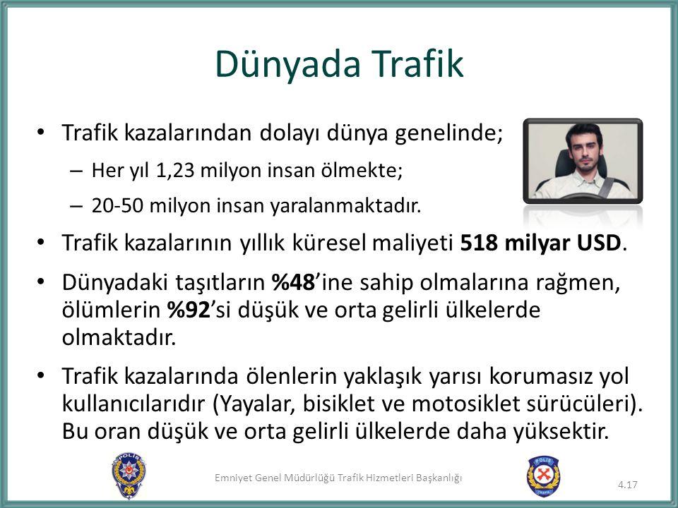 Emniyet Genel Müdürlüğü Trafik Hizmetleri Başkanlığı Dünyada Trafik Trafik kazalarından dolayı dünya genelinde; – Her yıl 1,23 milyon insan ölmekte; –