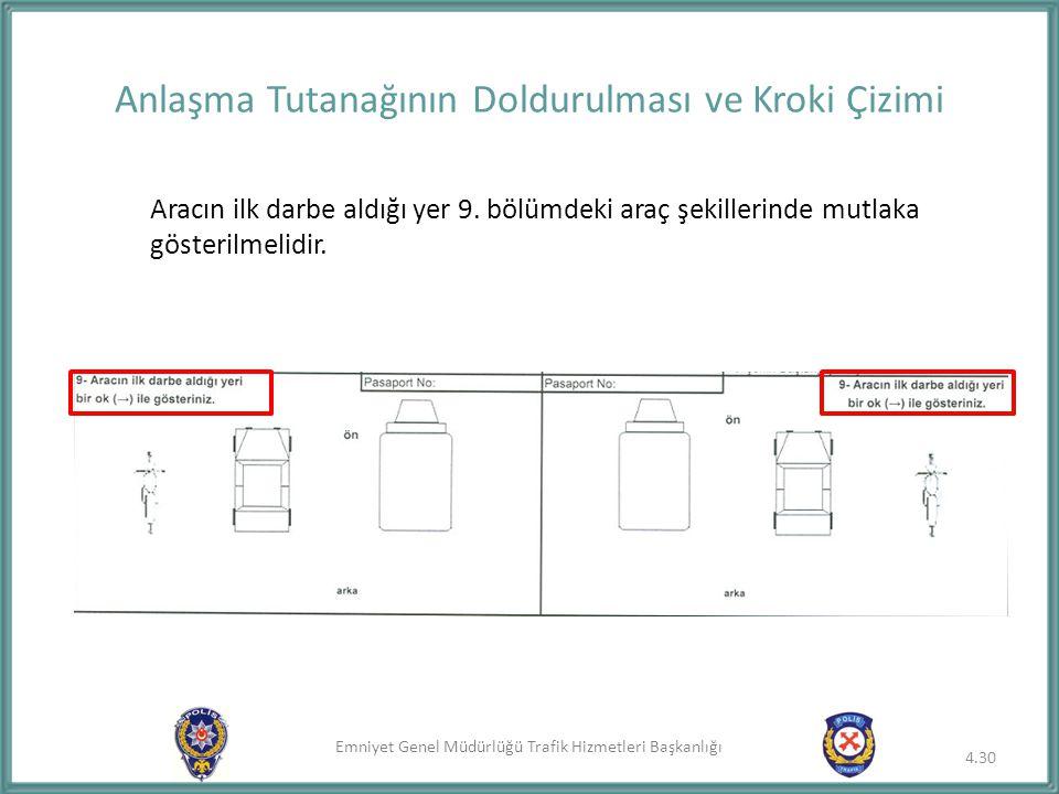 Emniyet Genel Müdürlüğü Trafik Hizmetleri Başkanlığı Aracın ilk darbe aldığı yer 9. bölümdeki araç şekillerinde mutlaka gösterilmelidir. Anlaşma Tutan
