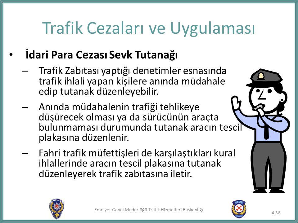 Emniyet Genel Müdürlüğü Trafik Hizmetleri Başkanlığı Trafik Cezaları ve Uygulaması İdari Para Cezası Sevk Tutanağı – Trafik Zabıtası yaptığı denetimle