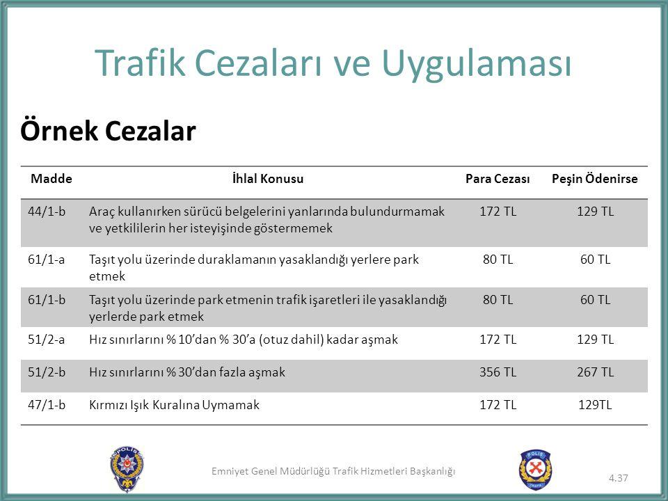Emniyet Genel Müdürlüğü Trafik Hizmetleri Başkanlığı Trafik Cezaları ve Uygulaması Örnek Cezalar Maddeİhlal KonusuPara CezasıPeşin Ödenirse 44/1-bAraç