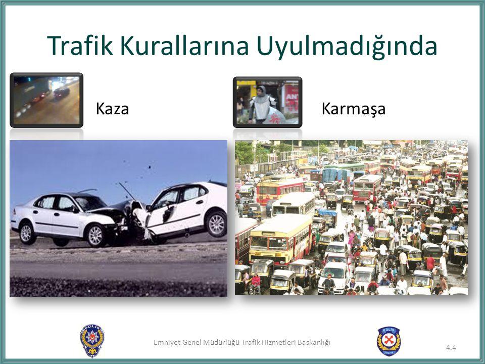 Emniyet Genel Müdürlüğü Trafik Hizmetleri Başkanlığı Trafik Kazası 4.5 Tafik kazaları genellikle aşağıdaki şekillerde meydana gelir: 1.Taşıtın taşıtla çarpışması, 2.Taşıtın yayaya çarpması, 3.Taşıtın hayvan veya sabit engele çarpması, 4.Ani ve sert fren ve direksiyon hareketleri,