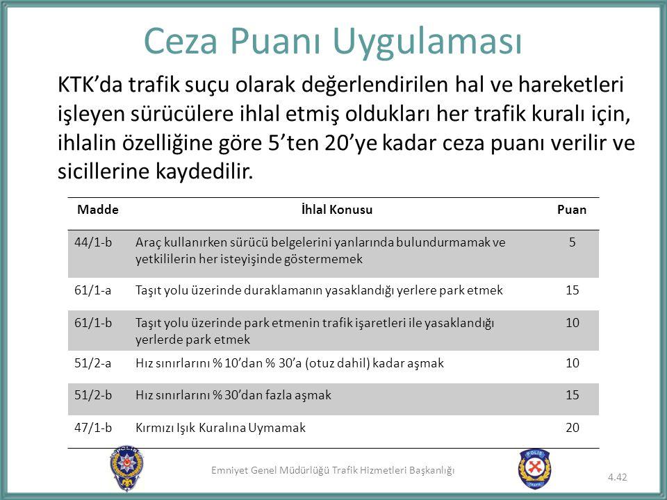 Emniyet Genel Müdürlüğü Trafik Hizmetleri Başkanlığı Ceza Puanı Uygulaması KTK'da trafik suçu olarak değerlendirilen hal ve hareketleri işleyen sürücü
