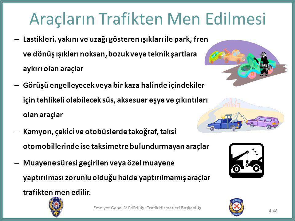 Emniyet Genel Müdürlüğü Trafik Hizmetleri Başkanlığı Araçların Trafikten Men Edilmesi – Lastikleri, yakını ve uzağı gösteren ışıkları ile park, fren v