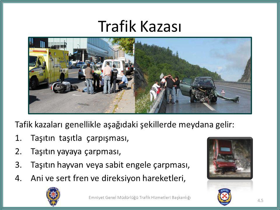 Emniyet Genel Müdürlüğü Trafik Hizmetleri Başkanlığı Trafik Kazası 4.5 Tafik kazaları genellikle aşağıdaki şekillerde meydana gelir: 1.Taşıtın taşıtla