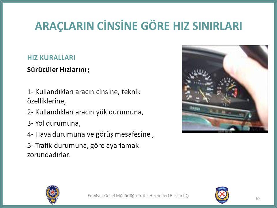 Emniyet Genel Müdürlüğü Trafik Hizmetleri Başkanlığı ARAÇLARIN CİNSİNE GÖRE HIZ SINIRLARI HIZ KURALLARI Sürücüler Hızlarını ; 1- Kullandıkları aracın
