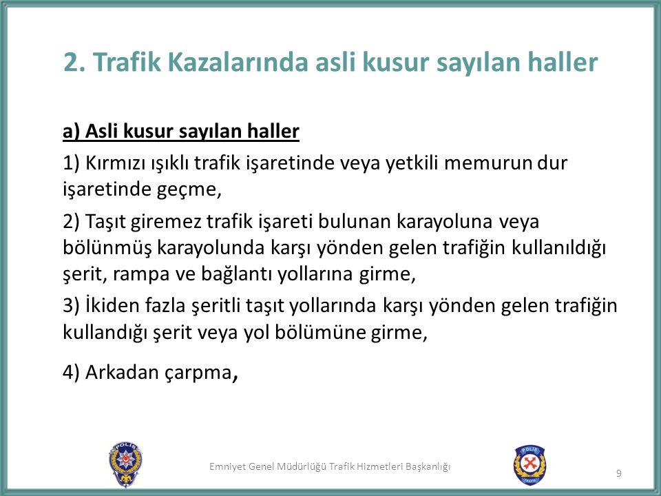Emniyet Genel Müdürlüğü Trafik Hizmetleri Başkanlığı 5) Geçme yasağı olan yerlerden geçme, 6) Doğrultu değiştirme manevralarını yanlış yapma, 7) Şeride tecavüz etme, 8) Kavşaklarda geçiş önceliğine uymama, 9) Kaplamanın dar olduğu yerlerde geçiş önceliğine uymama, 10) Manevraları düzenlenen genel şartlara uymama, 11) Yerleşim birimleri dışındaki karayolunun taşıt yolu üzerinde, zorunlu haller dışında parketme ve duraklama ve her durumda gerekli tedbirleri almama, 12) Park için ayrılmış yerlerde veya taşıt yolu dışında kurallara uygun olarak park edilmiş araçlara çarpma.