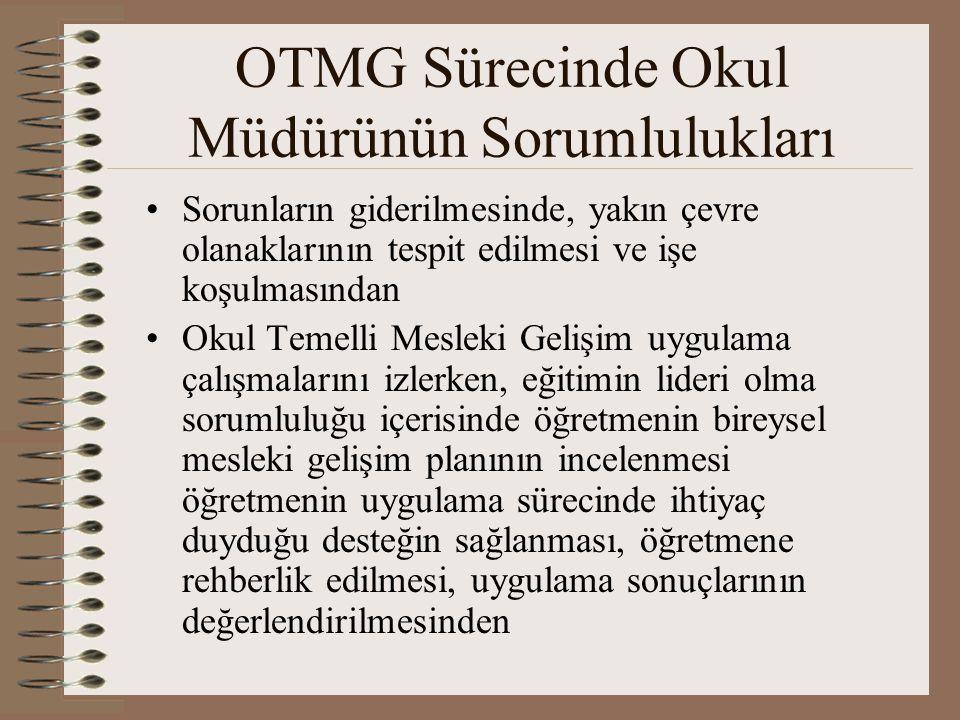 OTMG Sürecinde Okul Müdürünün Sorumlulukları Sorunların giderilmesinde, yakın çevre olanaklarının tespit edilmesi ve işe koşulmasından Okul Temelli Me