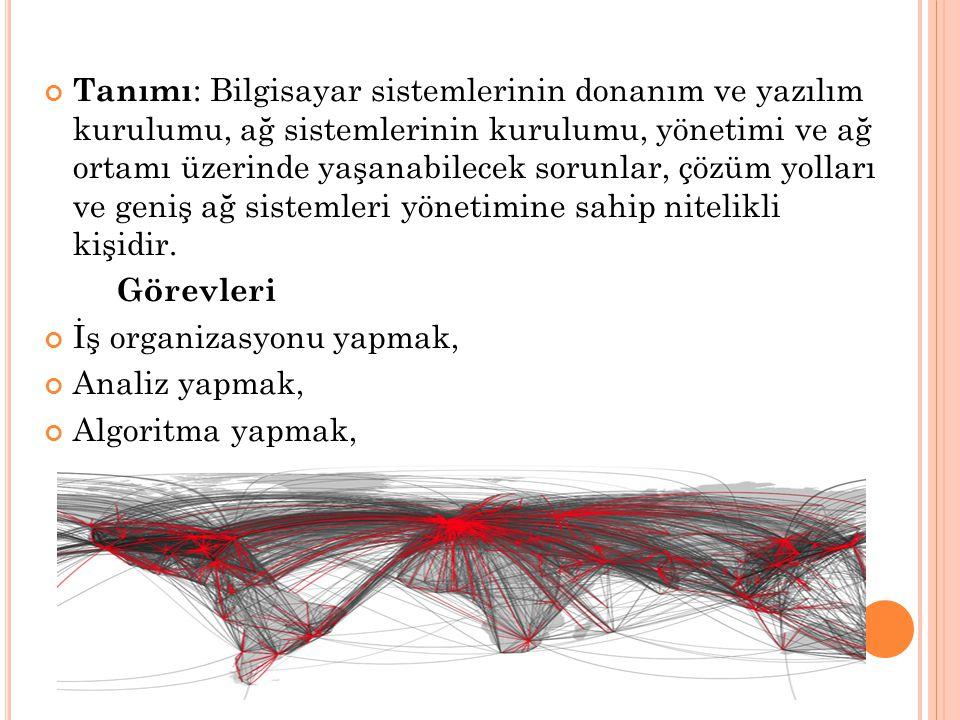 Tanımı : Bilgisayar sistemlerinin donanım ve yazılım kurulumu, ağ sistemlerinin kurulumu, yönetimi ve ağ ortamı üzerinde yaşanabilecek sorunlar, çözüm