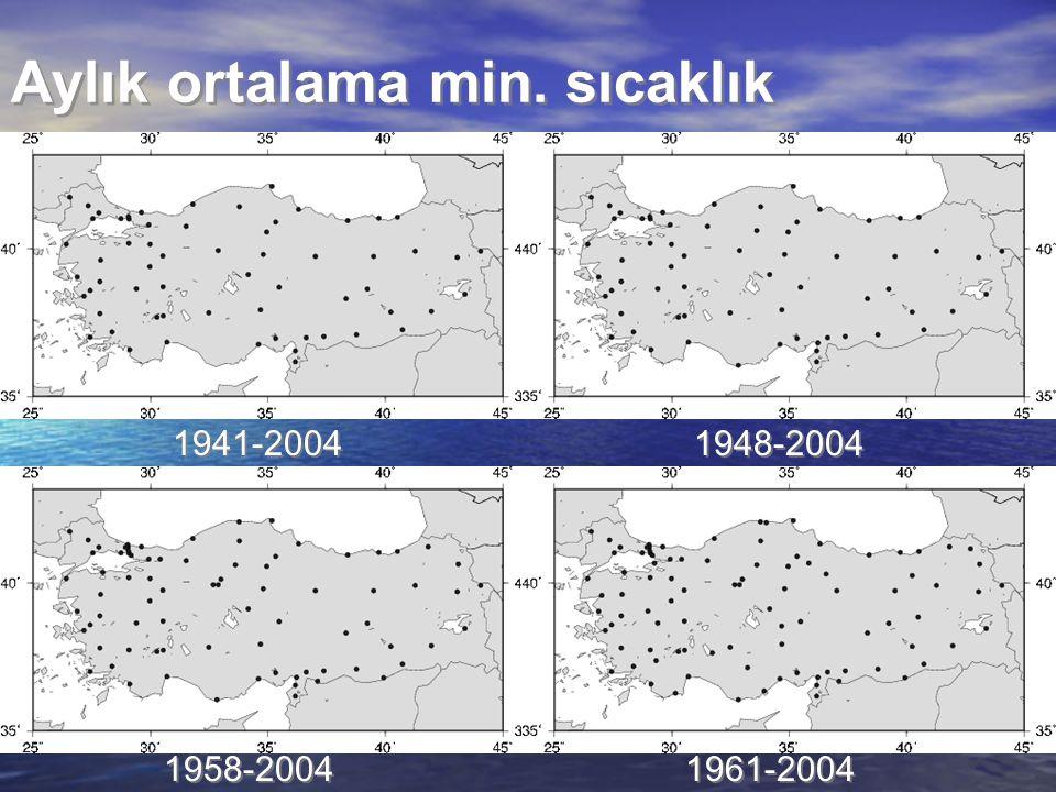 Aylık ortalama min. sıcaklık 1941-2004 1948-2004 1958-2004 1961-2004