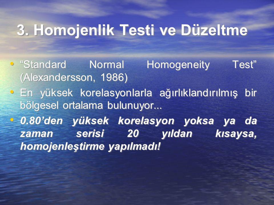 """3. Homojenlik Testi ve Düzeltme """"Standard Normal Homogeneity Test"""" (Alexandersson, 1986) En yüksek korelasyonlarla ağırlıklandırılmış bir bölgesel ort"""