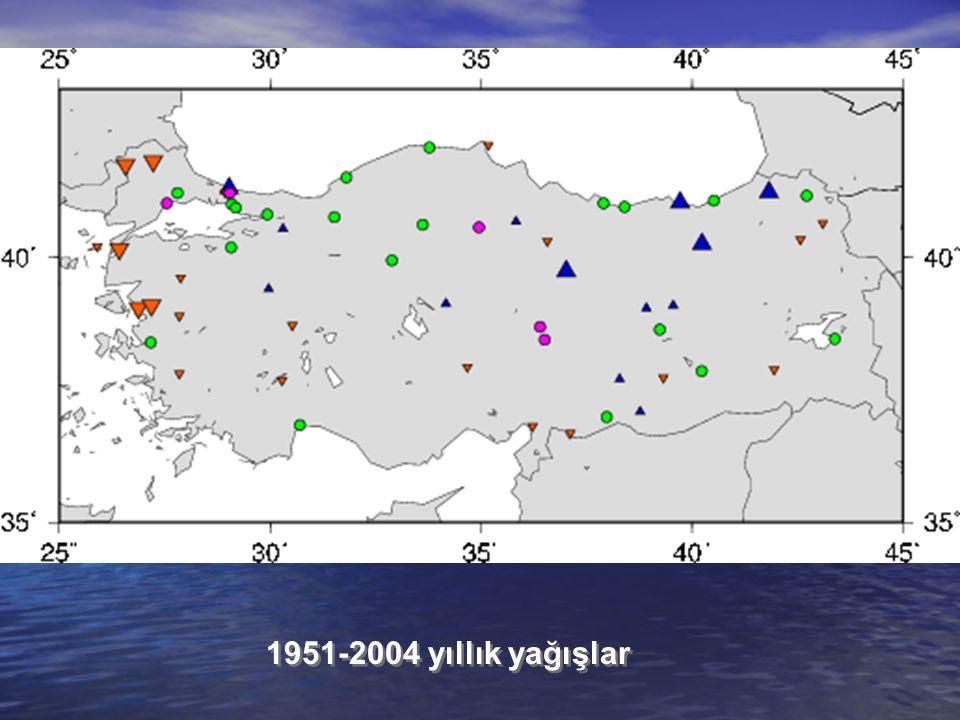 1951-2004 yıllık yağışlar
