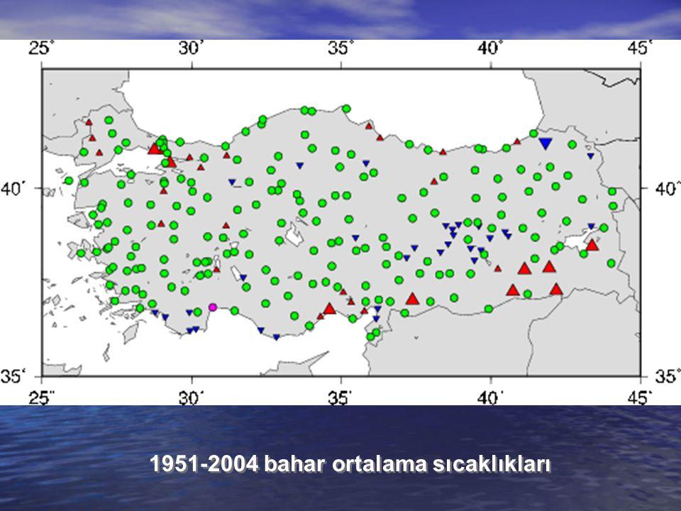 1951-2004 bahar ortalama sıcaklıkları