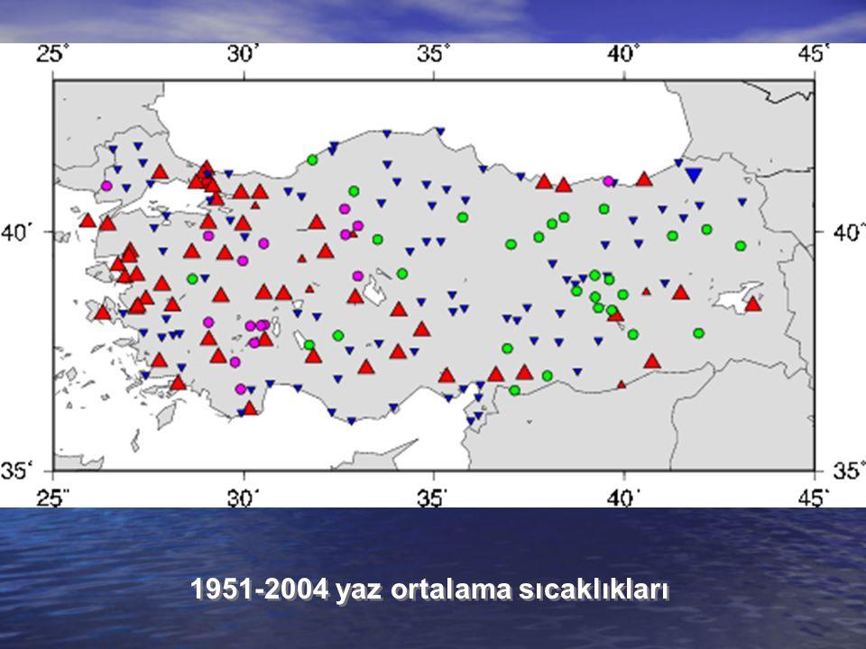 1951-2004 yaz ortalama sıcaklıkları