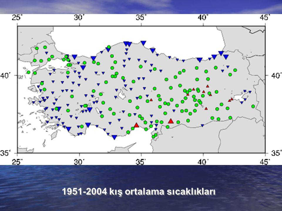 1951-2004 kış ortalama sıcaklıkları