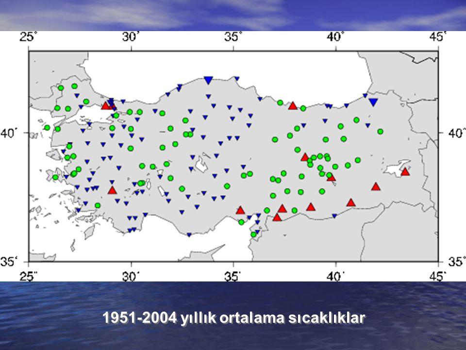 1951-2004 yıllık ortalama sıcaklıklar
