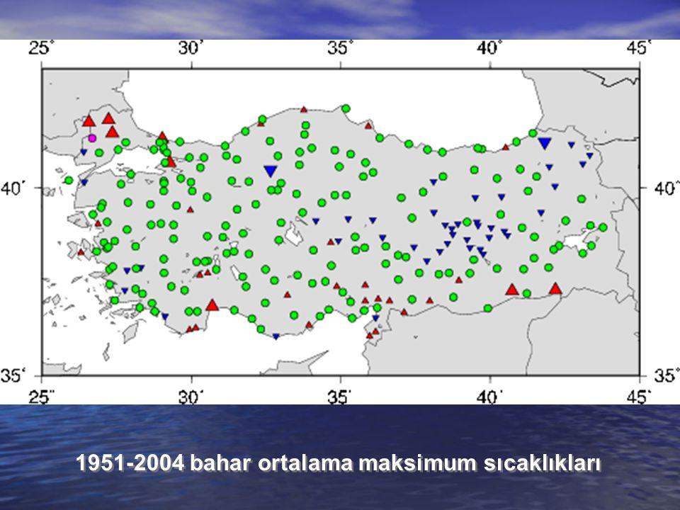 1951-2004 bahar ortalama maksimum sıcaklıkları