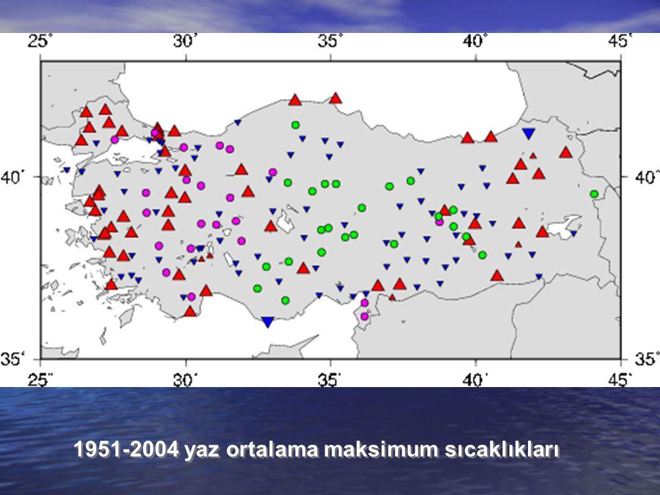 1951-2004 yaz ortalama maksimum sıcaklıkları