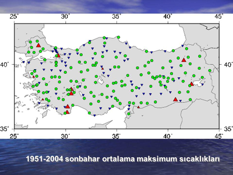 1951-2004 sonbahar ortalama maksimum sıcaklıkları