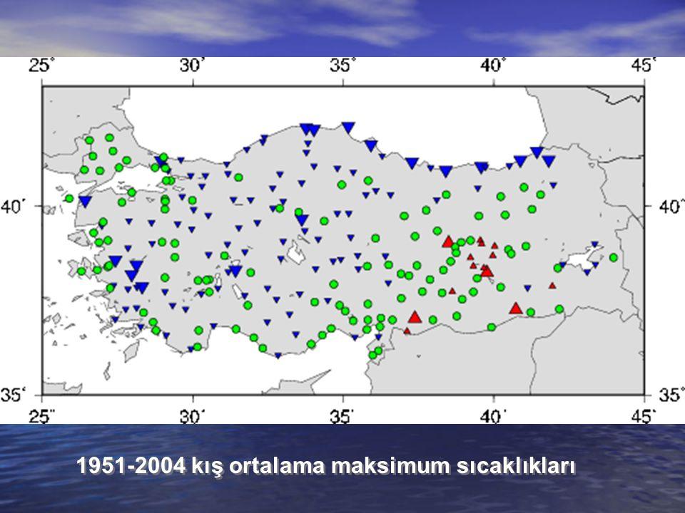 1951-2004 kış ortalama maksimum sıcaklıkları