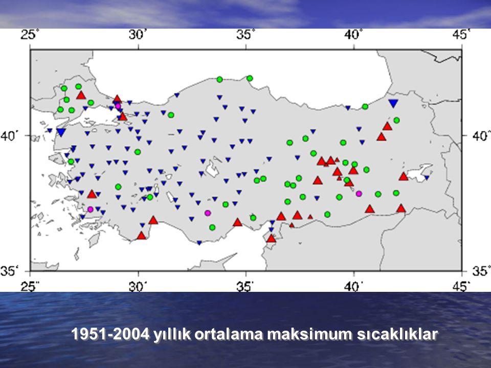 1951-2004 yıllık ortalama maksimum sıcaklıklar