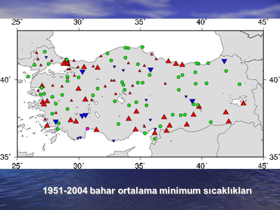 1951-2004 bahar ortalama minimum sıcaklıkları