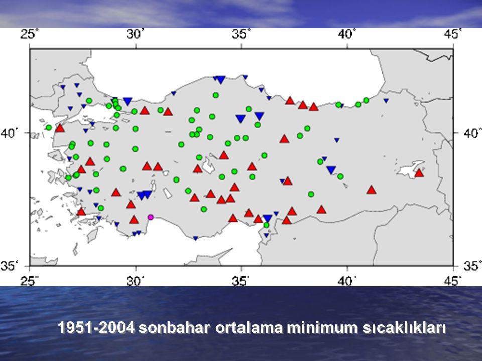 1951-2004 sonbahar ortalama minimum sıcaklıkları