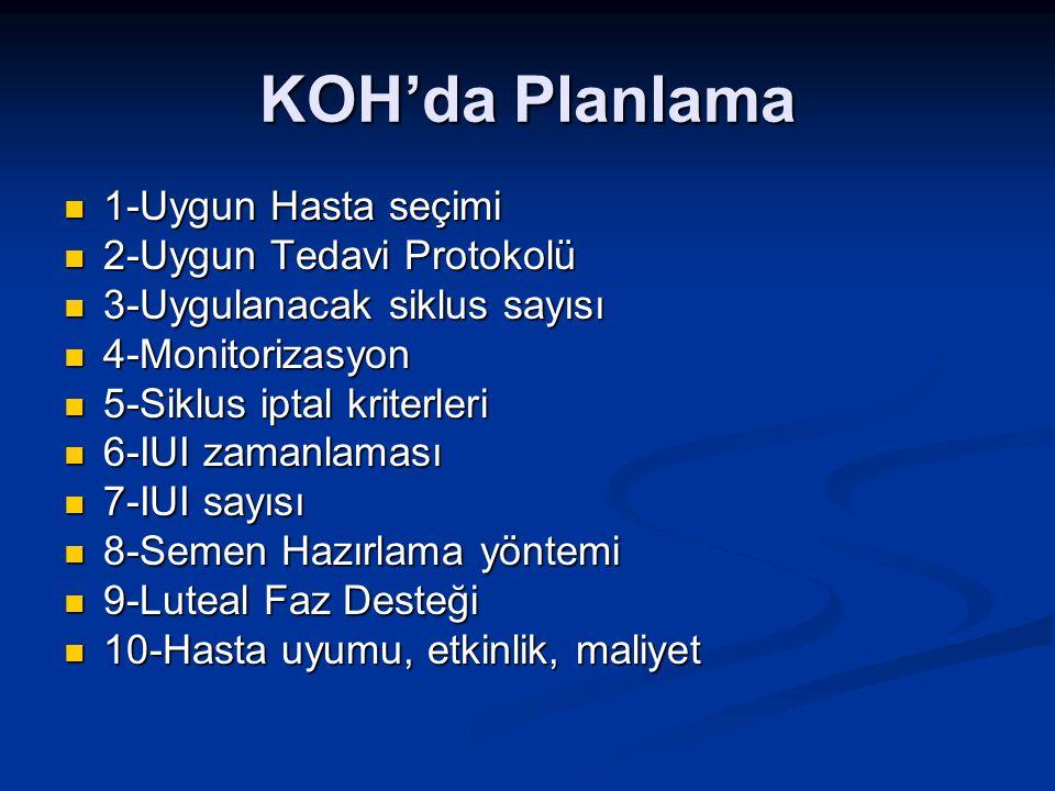 KOH'da Planlama 1-Uygun Hasta seçimi 1-Uygun Hasta seçimi 2-Uygun Tedavi Protokolü 2-Uygun Tedavi Protokolü 3-Uygulanacak siklus sayısı 3-Uygulanacak