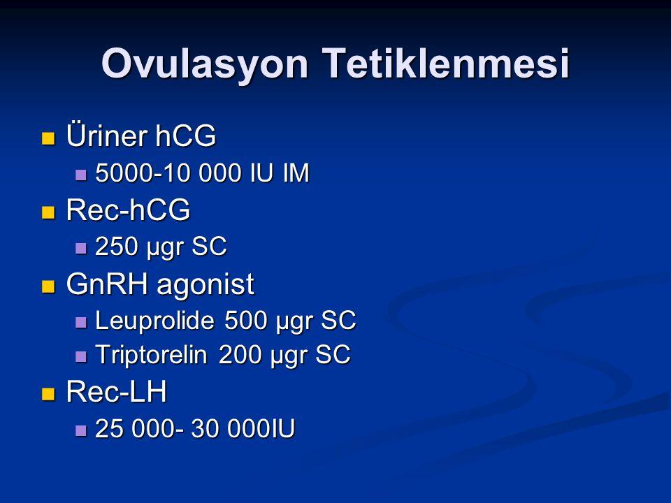 Ovulasyon Tetiklenmesi Üriner hCG Üriner hCG 5000-10 000 IU IM 5000-10 000 IU IM Rec-hCG Rec-hCG 250 µgr SC 250 µgr SC GnRH agonist GnRH agonist Leupr