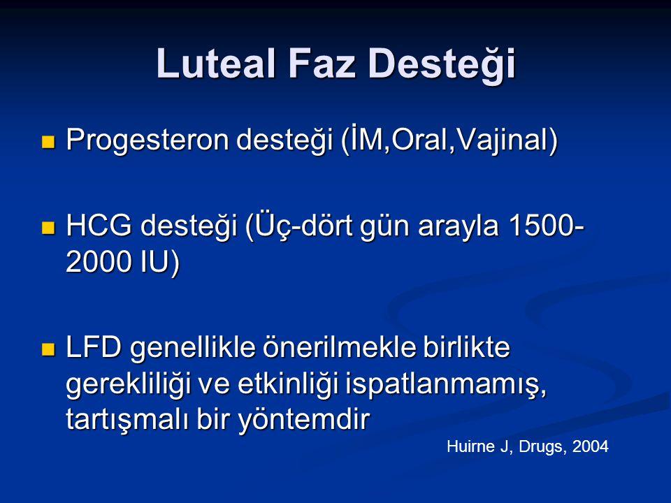 Luteal Faz Desteği Progesteron desteği (İM,Oral,Vajinal) Progesteron desteği (İM,Oral,Vajinal) HCG desteği (Üç-dört gün arayla 1500- 2000 IU) HCG dest