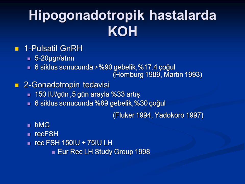 Hipogonadotropik hastalarda KOH 1-Pulsatil GnRH 1-Pulsatil GnRH 5-20µgr/atım 5-20µgr/atım 6 siklus sonucunda >%90 gebelik,%17.4 çoğul (Homburg 1989, M