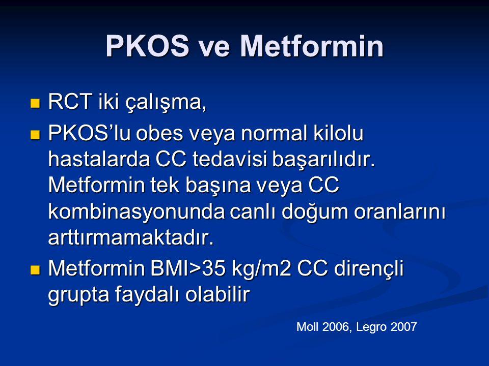 PKOS ve Metformin RCT iki çalışma, RCT iki çalışma, PKOS'lu obes veya normal kilolu hastalarda CC tedavisi başarılıdır. Metformin tek başına veya CC k