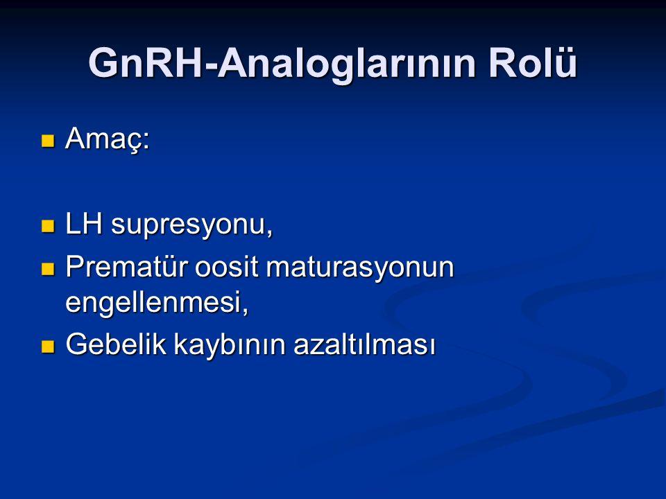 GnRH-Analoglarının Rolü Amaç: Amaç: LH supresyonu, LH supresyonu, Prematür oosit maturasyonun engellenmesi, Prematür oosit maturasyonun engellenmesi,