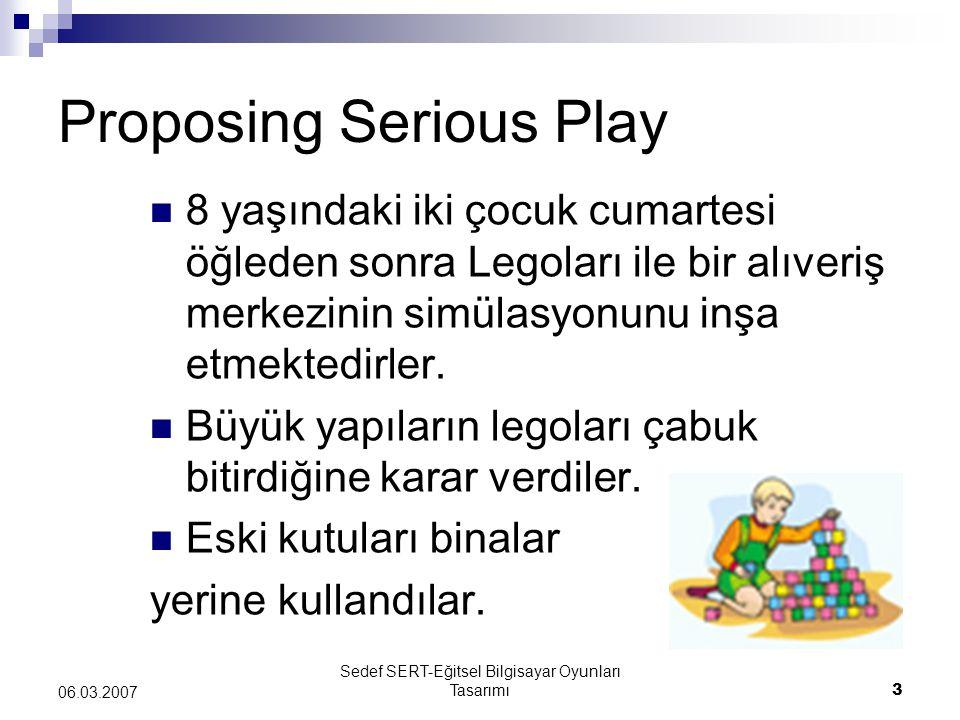 Sedef SERT-Eğitsel Bilgisayar Oyunları Tasarımı14 06.03.2007 Serious Play at Work for Learning Oyunun öğrenme ve motivasyon üzerindeki etkisi biliniyor.