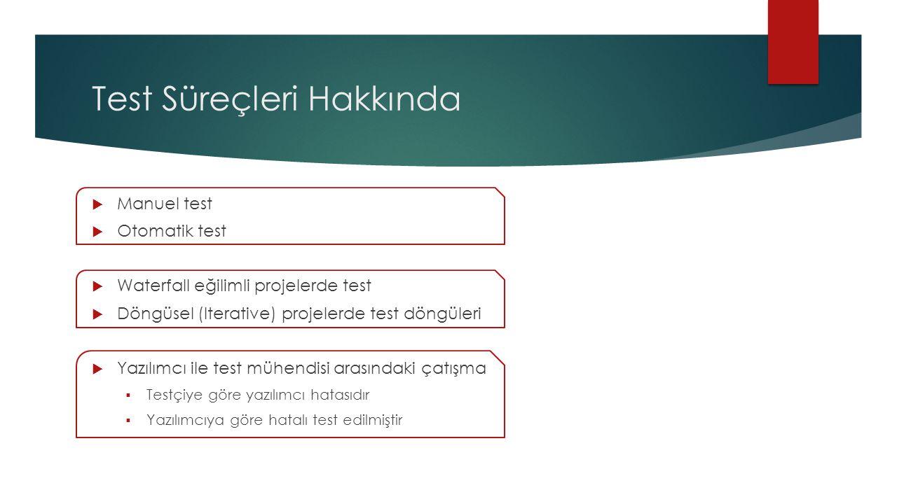 Test Süreçleri Hakkında  Manuel test  Otomatik test  Waterfall eğilimli projelerde test  Döngüsel (Iterative) projelerde test döngüleri  Yazılımcı ile test mühendisi arasındaki çatışma  Testçiye göre yazılımcı hatasıdır  Yazılımcıya göre hatalı test edilmiştir