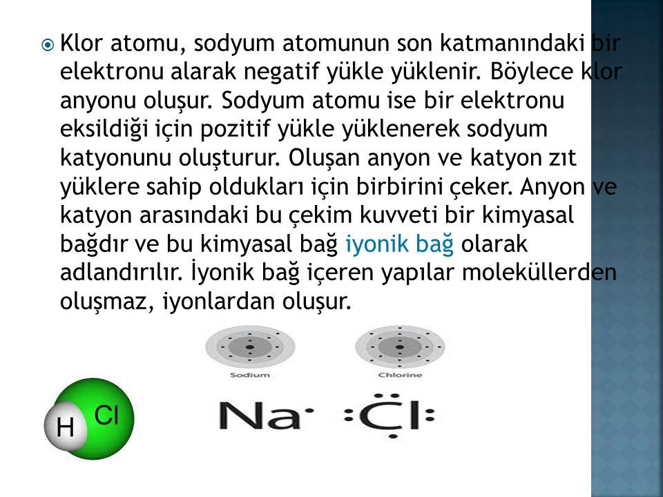  Klor atomu, sodyum atomunun son katmanındaki bir elektronu alarak negatif yükle yüklenir.
