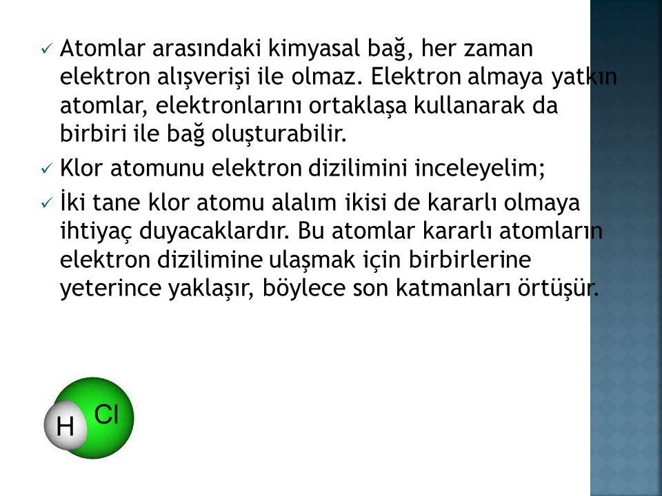 Atomlar arasındaki kimyasal bağ, her zaman elektron alışverişi ile olmaz.