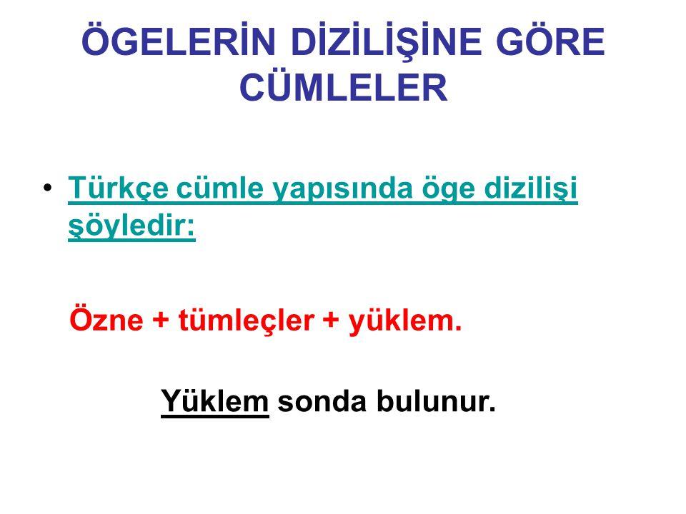 ÖGELERİN DİZİLİŞİNE GÖRE CÜMLELER Türkçe cümle yapısında öge dizilişi şöyledir:Türkçe cümle yapısında öge dizilişi şöyledir: Özne + tümleçler + yüklem.