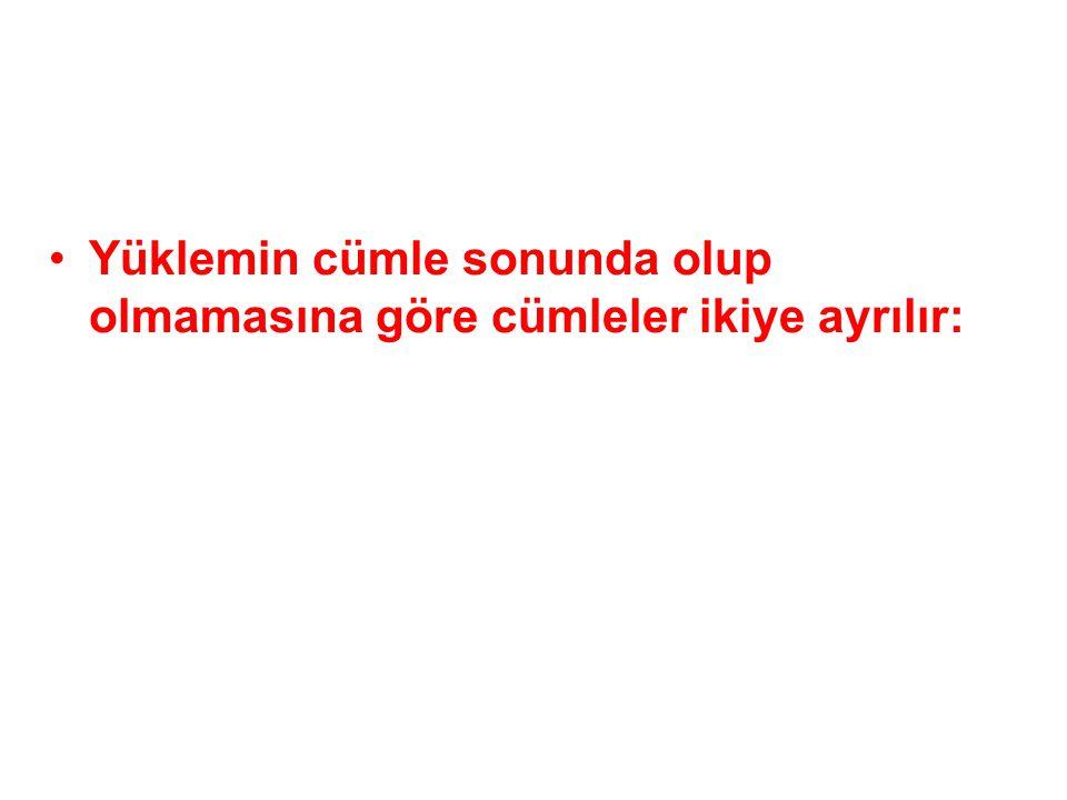 ÖGELERİN DİZİLİŞİNE GÖRE CÜMLELER Türkçe cümle yapısında öge dizilişi şöyledir:Türkçe cümle yapısında öge dizilişi şöyledir: Özne + tümleçler + yüklem