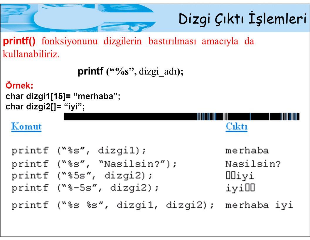 """Dizgi Çıktı İşlemleri printf() fonksiyonunu dizgilerin bastırılması amacıyla da kullanabiliriz. printf (""""%s"""", dizgi_adı); Örnek : char dizgi1[15]= """"me"""