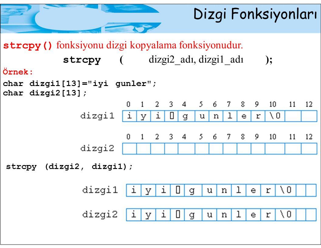 Dizgi Fonksiyonları strcpy() fonksiyonu dizgi kopyalama fonksiyonudur. strcpy (dizgi2_adı, dizgi1_adı); Örnek: char dizgi1[13]=