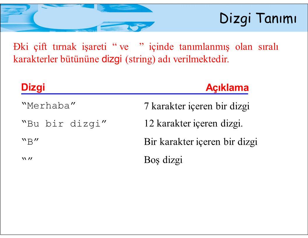 """Dizgi Tanımı Đki çift tırnak işareti"""" ve"""" içinde tanımlanmış olan sıralı karakterler bütününe dizgi (string) adı verilmektedir. Dizgi Açıklama """"Merhab"""
