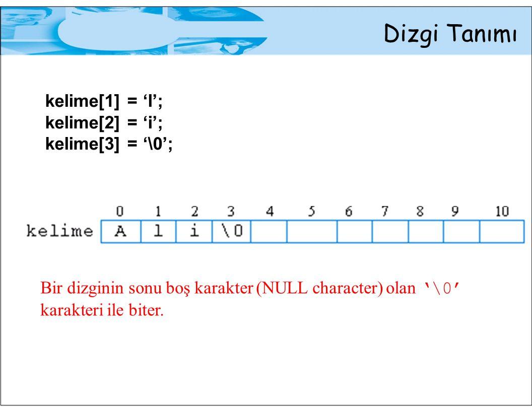 Dizgi Tanımı kelime[1] = 'l'; kelime[2] = 'i'; kelime[3] = '\0'; Bir dizginin sonu boş karakter (NULL character) olan '\0' karakteri ile biter.