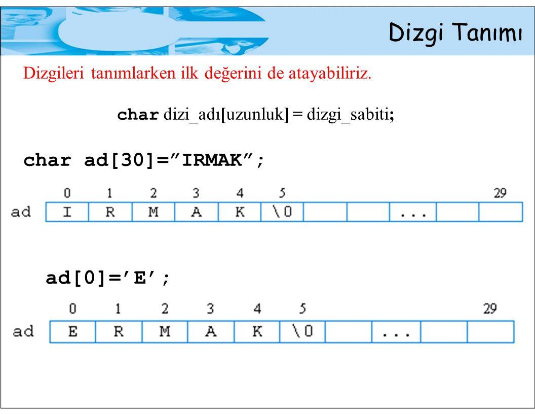 """Dizgi Tanımı Dizgileri tanımlarken ilk değerini de atayabiliriz. char dizi_adı[uzunluk] = dizgi_sabiti; char ad[30]=""""IRMAK""""; ad[0]='E';"""