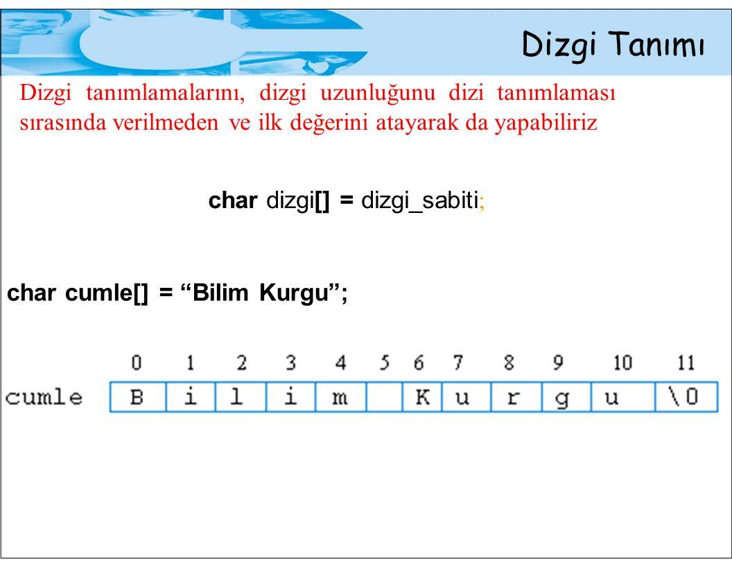 Dizgi Tanımı Dizgi tanımlamalarını, dizgi uzunluğunu dizi tanımlaması sırasında verilmeden ve ilk değerini atayarak da yapabiliriz. char dizgi [] = di