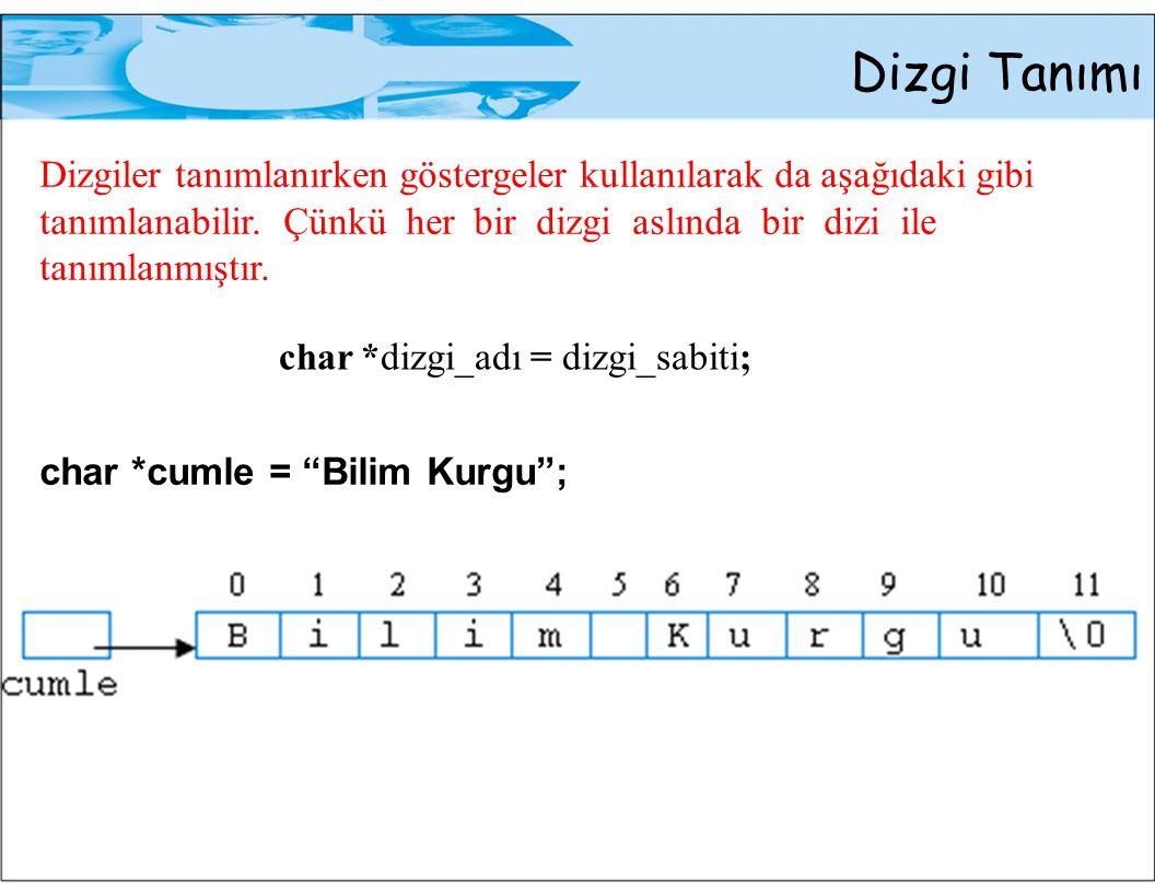 Dizgi Tanımı Örnek: char cumle[] = Merhaba Dunya ; int say = 0; int i; for (i = 0; cumle[i] != \0 ; i++) say++; printf( %s %d karakter icerir. , cumle, say); Çıktı: Merhaba Dunya 13 karakter icerir.